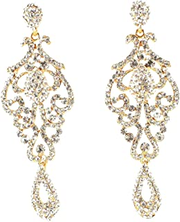 Large Pageant Clear White Teal Pink AB Blue Austrian Crystal Rhinestone Chandelier Dangle Drop Earrings Studs Prom Party Silver or Gold Plated Bridal E2090