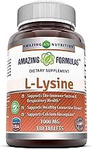 Amazing Nutrition Amazing Formulas L-Lysine 1000mg Amino Acid Vitamin 180 Tablets