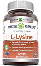Amazing Nutrition Amazing Formulas L-Lysine - 1000mg Amino Acid Vitamin Tablets - Commonly Used for Cold Sores, Shingles, Immune Support, Respiratory Health & More - 180 Vegetarian Tablets Per Bottle