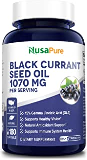 Black Currant Oil 1070mg GLA 15% 180 Caps (Non-GMO & Gluten Free) Hexane Free – Natural Anti Aging Antioxid...