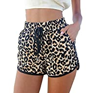 Kafeimali Women's Fashion Summer Leopard Beach Shorts Casual Short Pants