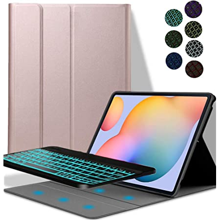 YGoal Teclado Funda para Galaxy Tab A7 10.4, [Teclado Español Ñ] 7 Colors Backlit PU Cuero Funda con Desmontable Wireless Teclado para Samsung Galaxy ...