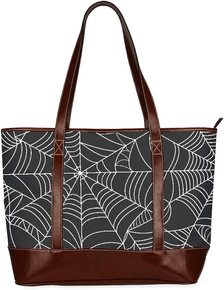 Halloween Black Grey Spider Web Girls Handbags Handbag Bag Large Capacity Printed Womans Handbags With Zipper Top-handle