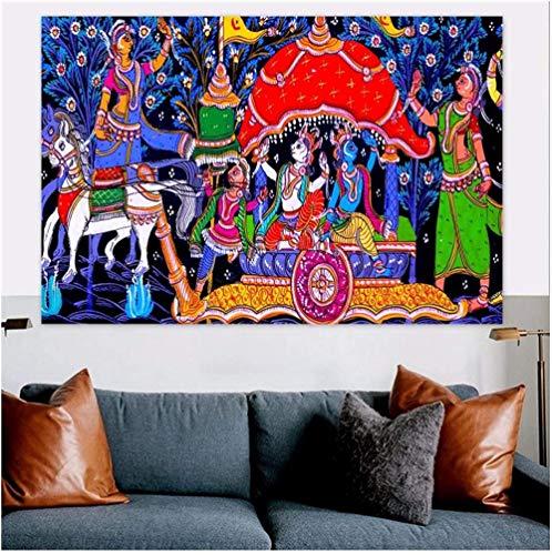 Poster Madhubani Mithila Radha Krishan Gopi Leela Dancing Hinduism Moral Canvas Painting Poster Print Wall Hanging Art 50x70cm