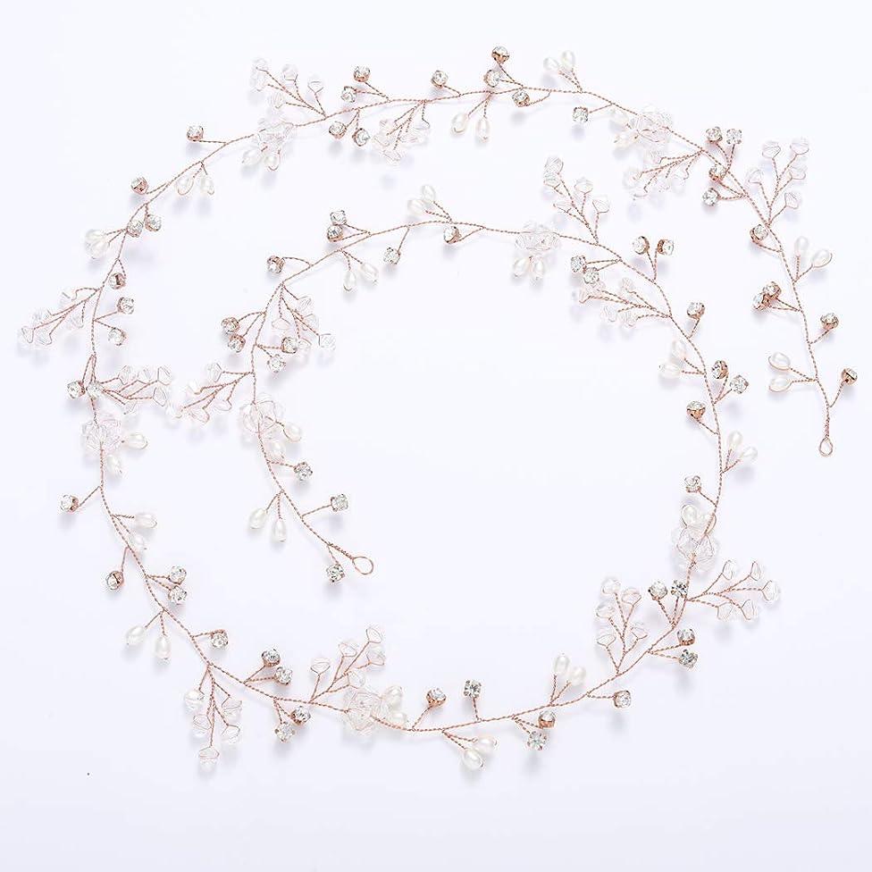 Yean Wedding Hair Vine Long Bridal Headband Hair Accessories for Bride and Bridesmaid (100cm / 39.3inches) (Rose gold)