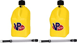 2 Pack VP 5 Gallon Square Yellow Racing Utility Jugs with 2 Deluxe Filler Hoses