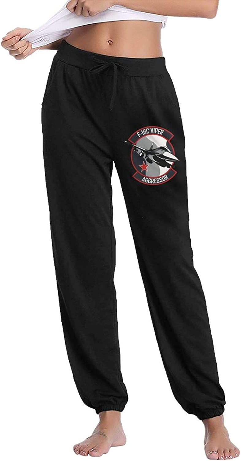 F-16 Viper Aggressor Women's Cotton Long Pants with Pockets Workout Casual Sweatpants Drawstring Waist Jogger