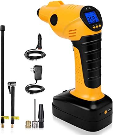 KYG Compresseur Voiture Portable avec Lampe LED Compresseur d'air Électrique Digital avec Écran LCD Gonfleur sans Fil Batterie Lithium Rechargeable 12V 130PSI