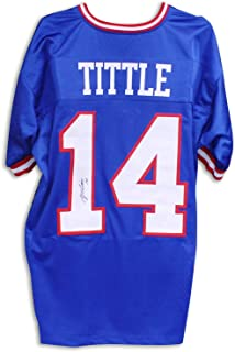 Y.A. Tittle New York Giants Autographed Blue Jersey - COA Included Signature - COA Included Signature