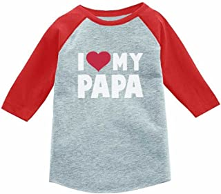 I Love Heart My Papa 3/4 Sleeve Baseball Jersey Toddler Shirt