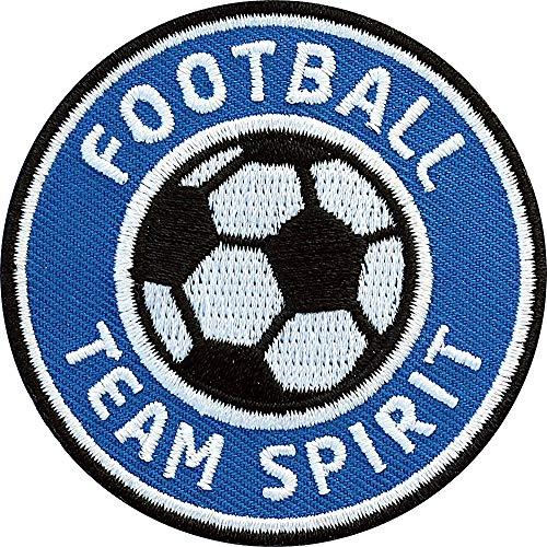 2 x Fussball Abzeichen 60 mm gestickt blau / Football Team Spirit / Applikation Aufbügler Aufnäher Sticker Patch Bügelbild / Team Dress Trikot Shirt Short Cap Tasche Fußball Mannschaft Verein Fan