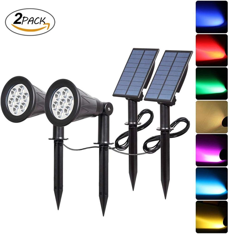 LED-Solarstrahler, 7 LED-Gartenlichter mit Farbwechsel, Sicherheitsbeleuchtung, Wegeleuchten, Landschaftslicht für Terrasse, Rasen, Baum, Hof, Garten (2Pack)