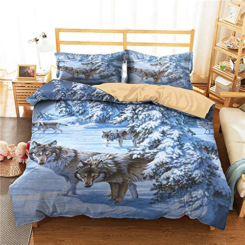 Chickwin Exotic Duvet Cover Set for Twin Full Queen King Size Bed, Wolf 3D Printed Microfiber Boys Bedding Sets Duvet Set with Pillowcases and Quilt case (Twin - 172x218cm -2pcs,Snow Wolf)