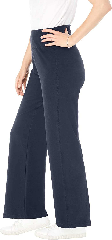 Woman Within Women's Plus Size Petite Stretch Cotton Wide Leg Pant