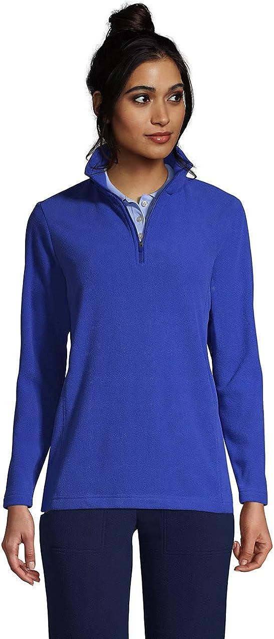 Lands' End Women's Plus Size Thermacheck 100 Fleece Quarter Zip Pullover Top