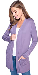 Women's Casual Long Sleeve Open Front Lightweight Loose Cardigan with Pockets