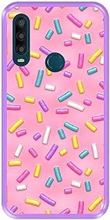 Hapdey Silikonfodral för [ Alcatel 1SE 2020] Design [Rosa munkglasyr med många dekorativa strössel ] Lila flexibel TPU