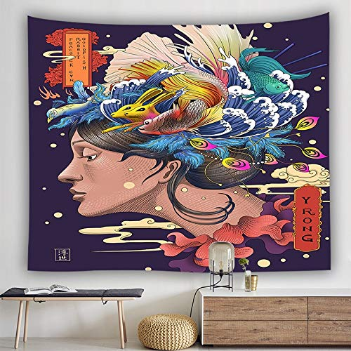 KHKJ Tapiz de Manta Japonesa Ballena Arowana dragón Phoenix tótem Colgante de Pared Cama Bohemia Blaanket Tapiz de decoración del hogar A4 95x73cm