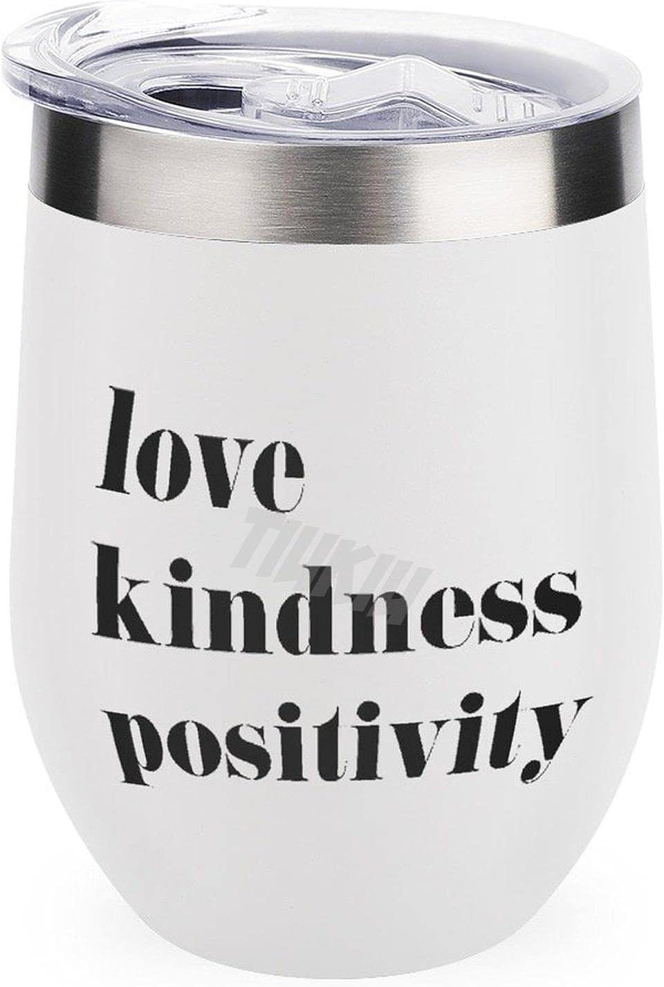 Vaso de viaje para acampar al aire libre taza vino amor bondad positividad buena vibes mantra 12 oz vino vaso taza con tapa
