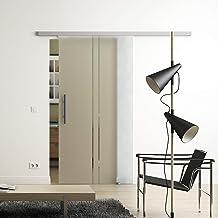 Glazen schuifdeur 2-strepen-design Sadora® Slimline-systeem compleet looprail en glas 1025 mm x 2050 mm Stangengriff/Griff...