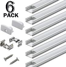 PAQUETE DE 6 1M/3.3pies Canal de Aluminio LED para Tiras de Luces LED, Perfil en Forma de U de Acabado Profesional Compacto con Todos los Accesorios para Fácil Instalación