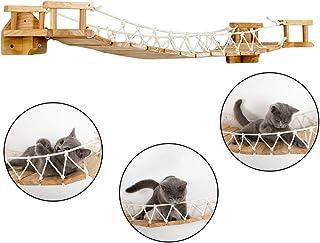 Wxxdlooa Árbol del Gato, sólido montado en la Pared de Madera Columpio Gato Modernos Muebles Centro de Actividades Puente Colgante de Escalera de Gato Accesorios Wall