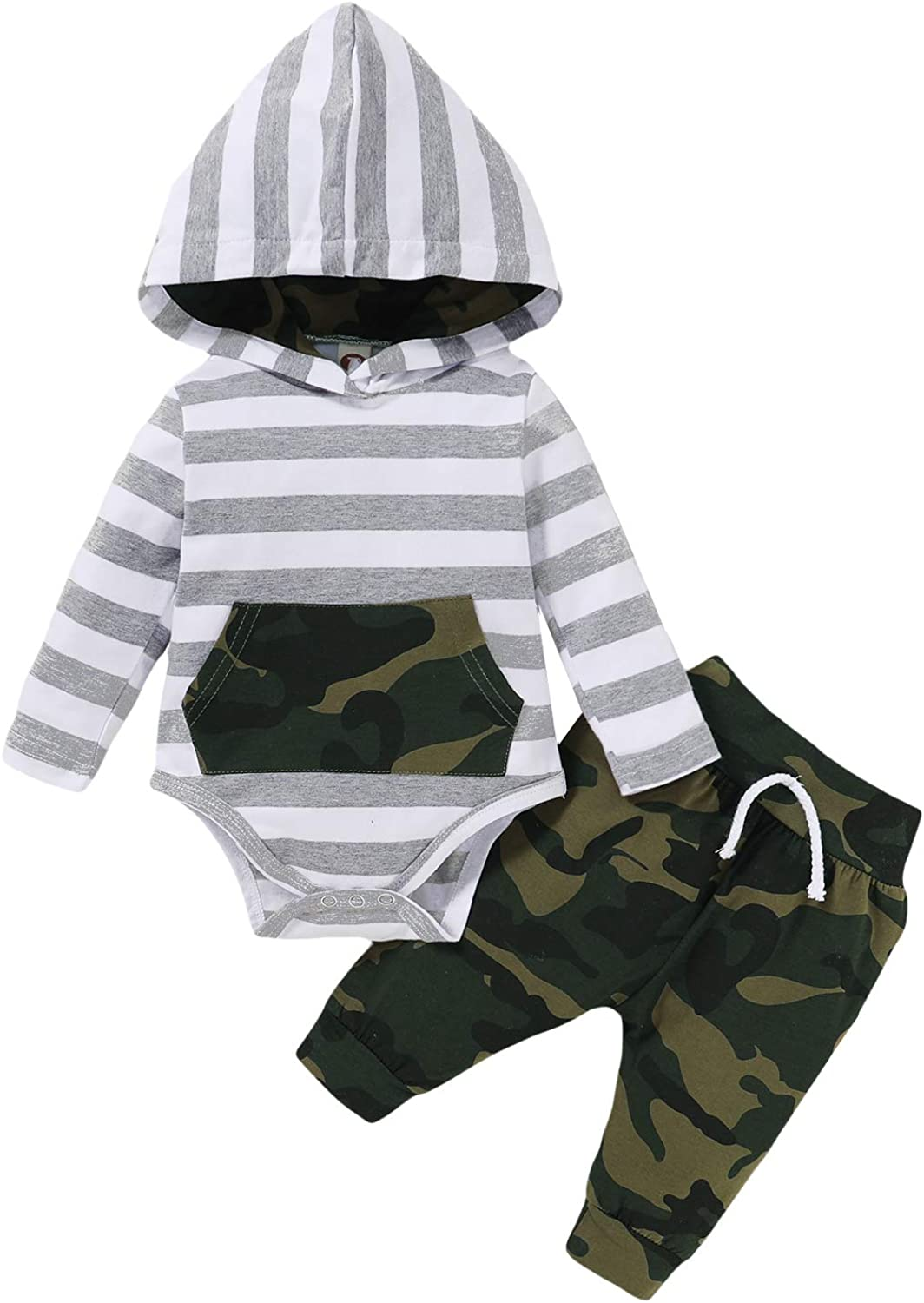 Newborn Baby Boy Clothes Outfit New to The Crew Letter Print Romper Camouflage Pants Hat 3PCS Set