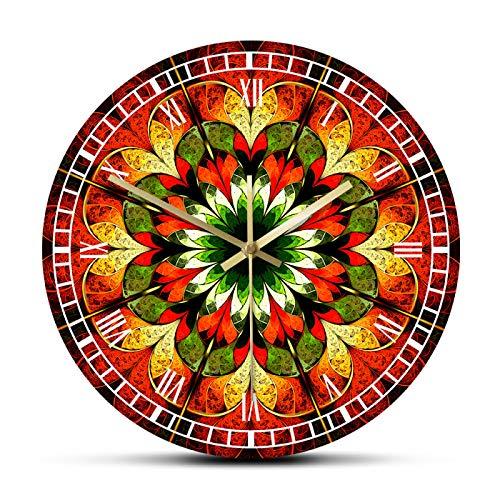gongyu Reloj de Pared de Mandala de Flores Coloridas abstractas, Arte de Pared Fractal de meditación, Reloj de Pared Colgante de Barrido silencioso, Regalo de inauguración de la casa de Yoga