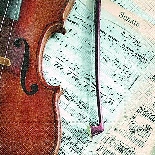 20 servetten viool op noten/muziek/instrument 33x33cm