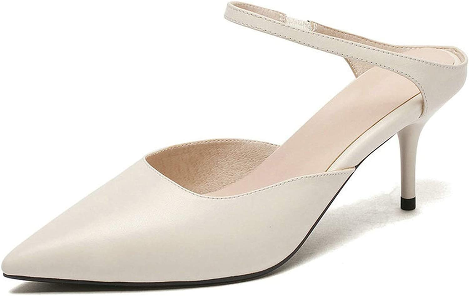 Easy-S-E-H Cow Leather +Pu Thin High Heel Pointed Toe Slingback Elegant Ladies Pumps Elegant Summer Size 34-40