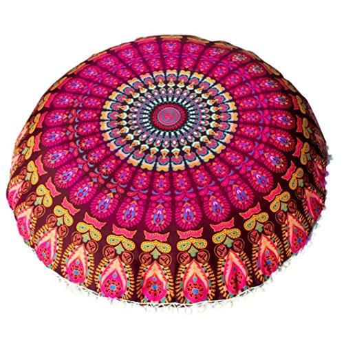 Funda Cojines, Xinan Cojín de meditación de Bohemia Redonda de Grandes Almohadas de Piso de Mandala 80 * 80cm (Amarillo)