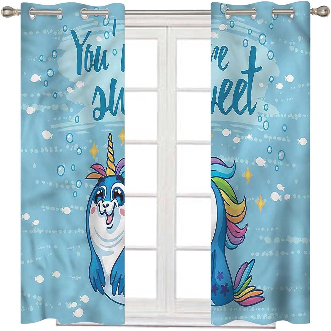 Unicorn Short discount Curtain 108 Inch Long Sea Black Max 64% OFF and Penguin Blacko
