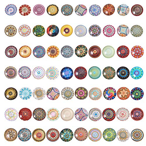 PandaHall 70 Estilos Mosaico Impreso Cabujones Imagen 25mm Cúpula de vidrio semicircular Cabujones Azulejos para hacer joyas con fotos, Patrón floral