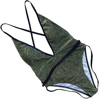 Sexy Fashion One Piece Bikini Swimsuit Deep V Neck Spaghetti Strap Sequin Swim Jumpsuits 2019