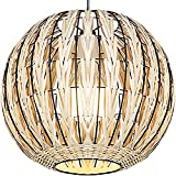 Wicker Hanging Lamp Bamboo Light Shade Rattan Pendant Ceiling Light Fixtures Kitchen Island Bedroom Dining Room Bathroom Light Hand-Made Light, Nature Color, 2700K Bulb Included
