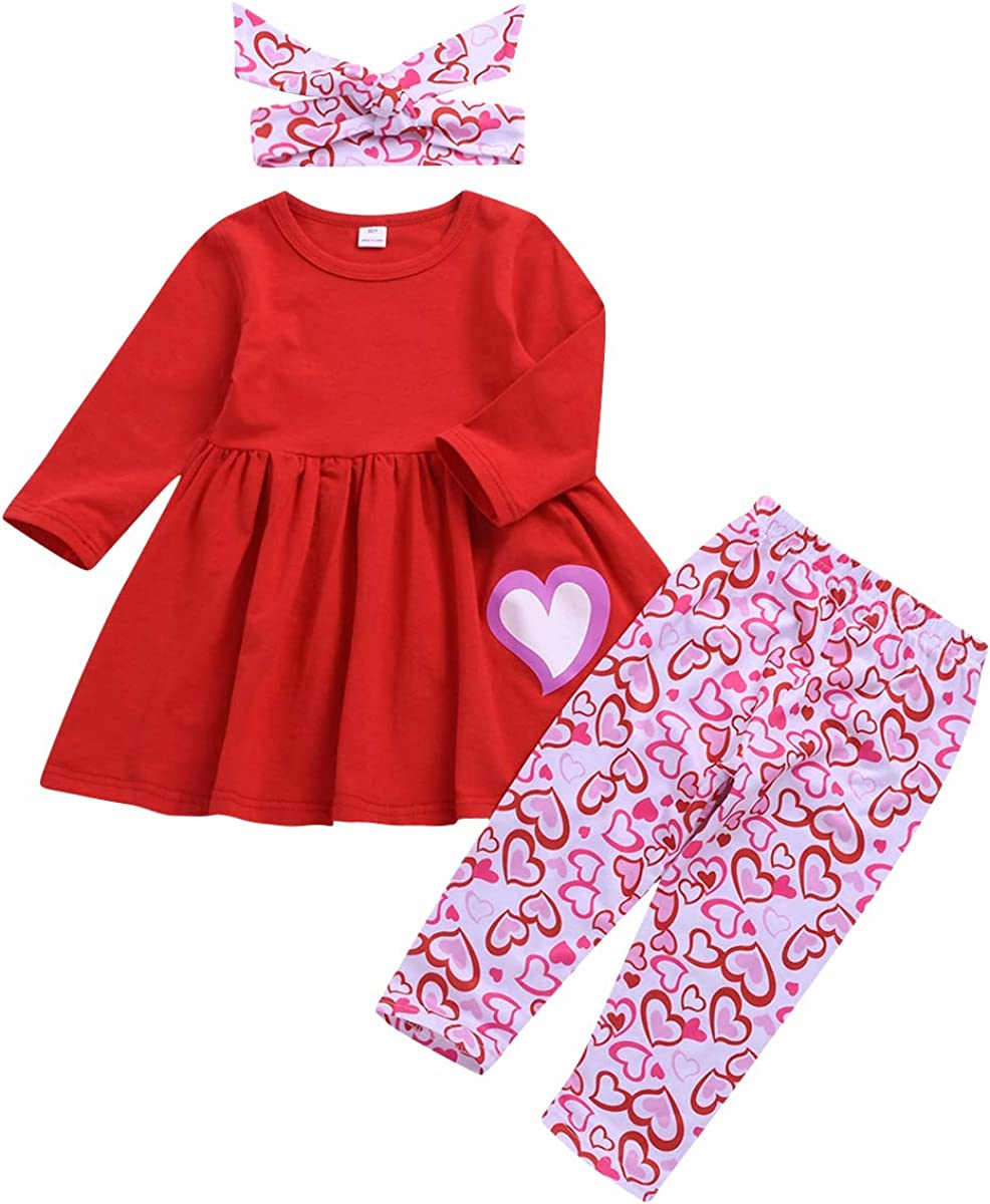 Sinhoon Valentine's Day Outfit Baby Kids Girl Red Long Sleeve Dress Heart Print Pants Set with Headband