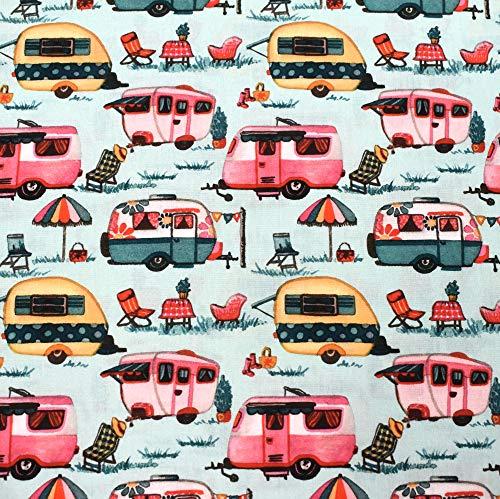 MAGAM-Stoffe Happy Holiday Caravan Wohnwagen Kinder Baumwollstoff Oeko-Tex Meterware 50cm