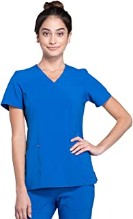 Cherokee iFlex Women's Mock Wrap Knit Panel Scrub Top
