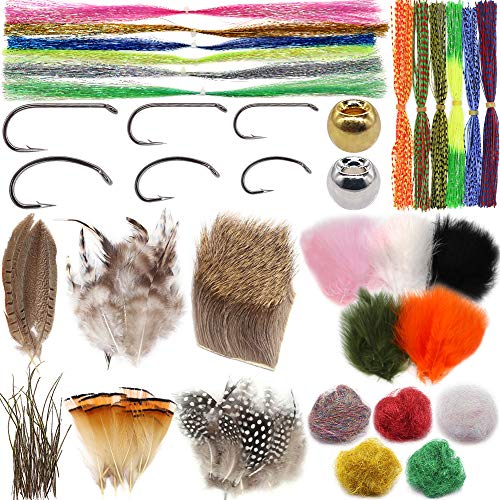 XFISHMAN Beginners-Fly-Tying-Materials Kit for Fly Tieing Starter Fly Tying Hooks Brass Beads Heads Feathers Deer Hair Hackle Marabou