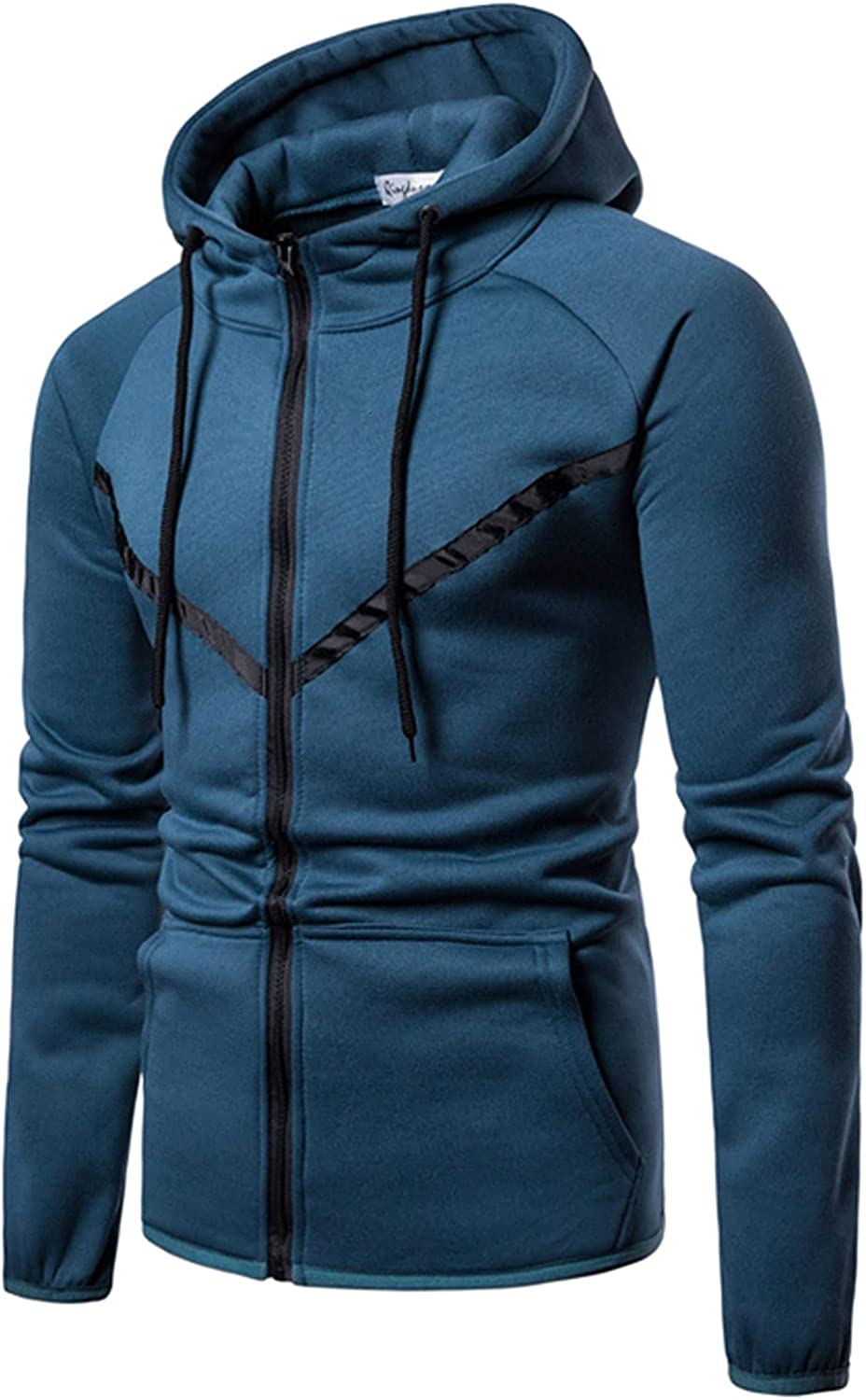 HONGJ Hoodies for Mens, Zipper Color Block Hooded Sweatshirts Men's Fall Slim Fit Workout Fitness Sports Casual Jackets