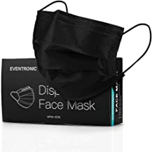 Black Face Mask Disposable, Eventronic Elastic Ear Loops, 3 Layers Face Health for Adult, men & women (50Pcs)