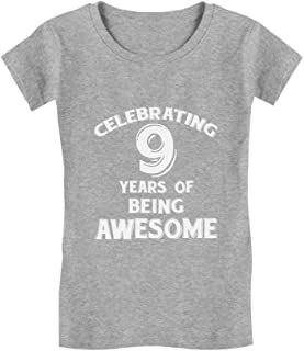 9 Years of Being Awesome! 9 Year Old Birthday Gift Girls' Fitted Kids T-Shirt