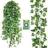 フェイクグリーン 人工観葉植物 24本セット【Xiaz】造花グリーンアイビー 緑 藤 ホーム オフィス 結婚式 パーティー 適用の植物装飾