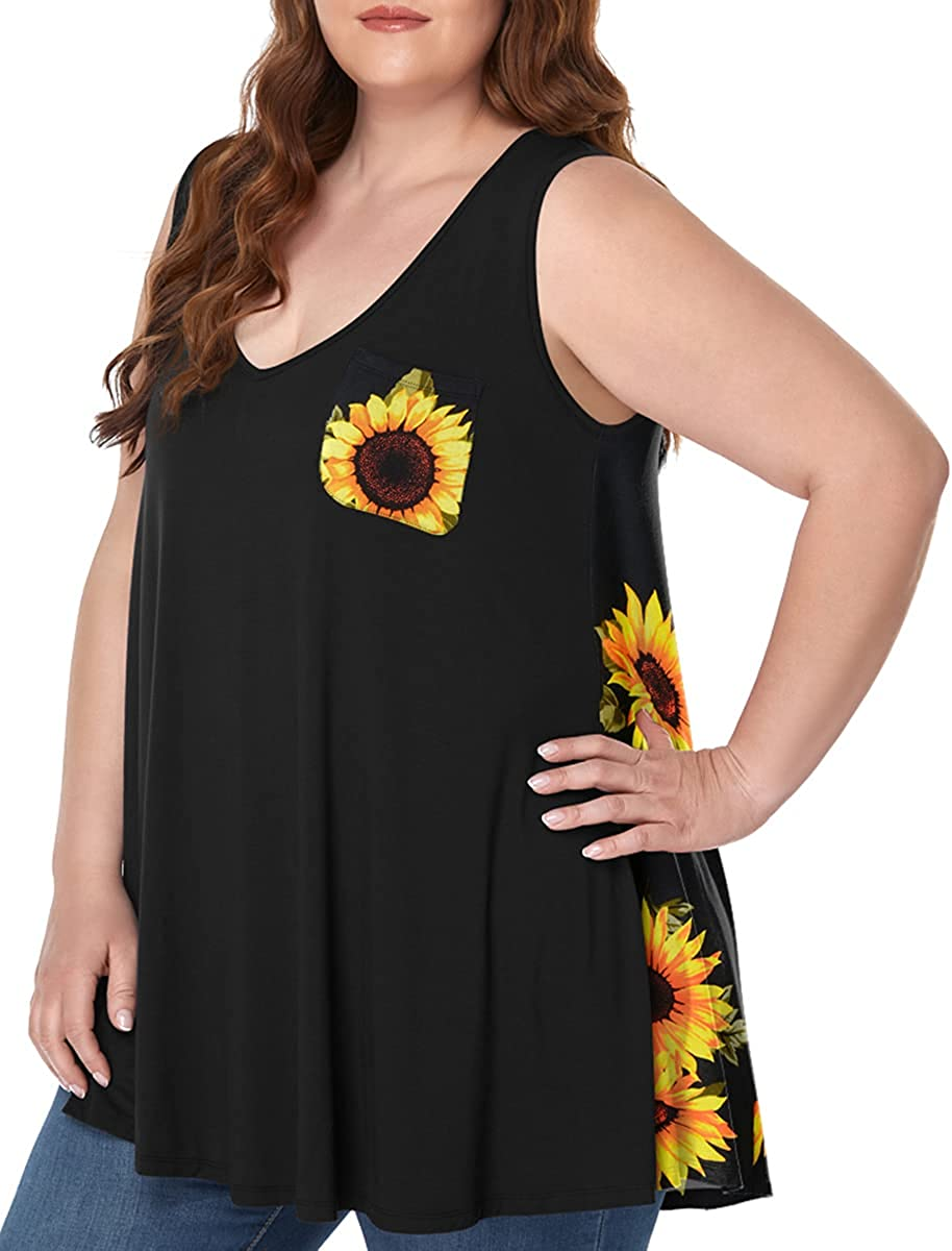 MONNURO Women's Plus Size Sleeveless Tops Summer V Neck Shirts Color Block Loose Tunic Tank Top with Pockets