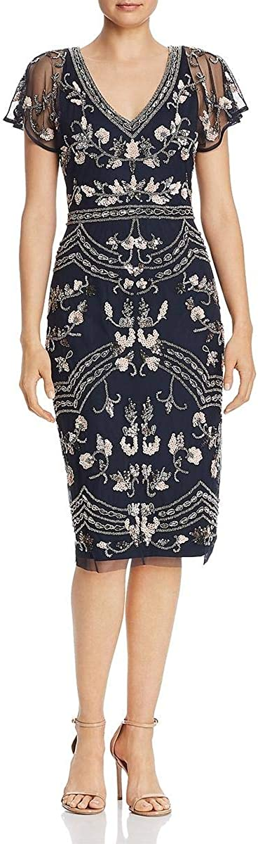 Adrianna Papell Women's Beaded Sleeve New Max 61% OFF product Flutter Dress