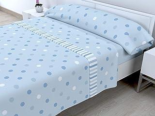 Cabetex Home - Juego de sábanas termicas de pirineo - 3 Piezas - 120 Gr/m2 - Mod. MELL (Azul, 150_X_190/200 cm)