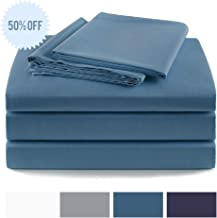 LEWTAC Cotton Sheets 600 Thread Count,4 Piece Bed Sheet Set,Fit Mattress Upto 15'' Deep Pocket, Soft & Breathable,Fade Resistant Sheets (Blue, Twin)