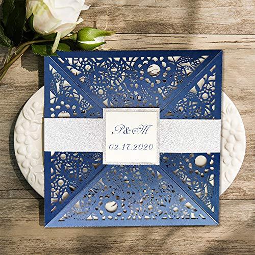 50 Kits Zilveren Band Gepersonaliseerde Blauw Bruiloft Uitnodigingen met Enveloppen Print Laser Cut Party Verjaardag Receptie Kaarten