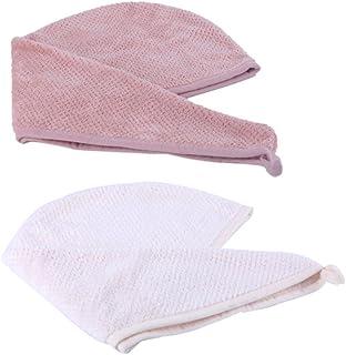LURROSE 2 peças de microfibra toalha de secagem de cabelo turbante para toalhas de cabelo longo, touca absorvente de secag...
