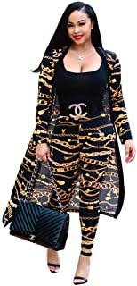 Max2co Women 2 Piece Outfits Floral Long Sleeves Open Front Cardigan Cover up with Leggings High Waist Long Pants Set